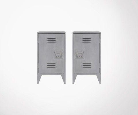 Lot 2 tables de chevet style industriel BRYSON - Gris Clair
