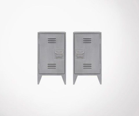 Set of 2 BRYSON Industrial Bedside - Light Grey