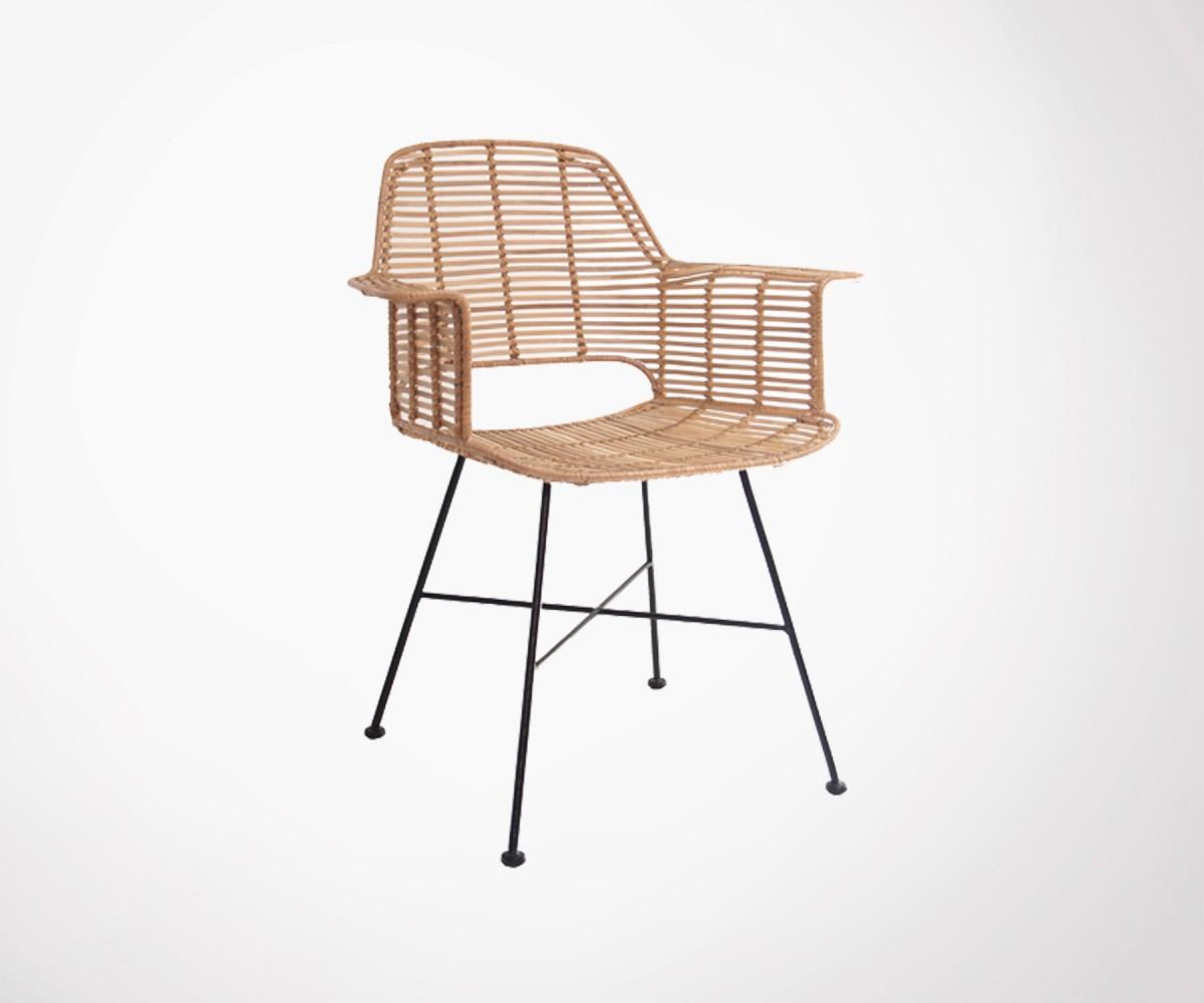 fauteuil rotin naturel pieds m tal id al dans v randa ou salon. Black Bedroom Furniture Sets. Home Design Ideas