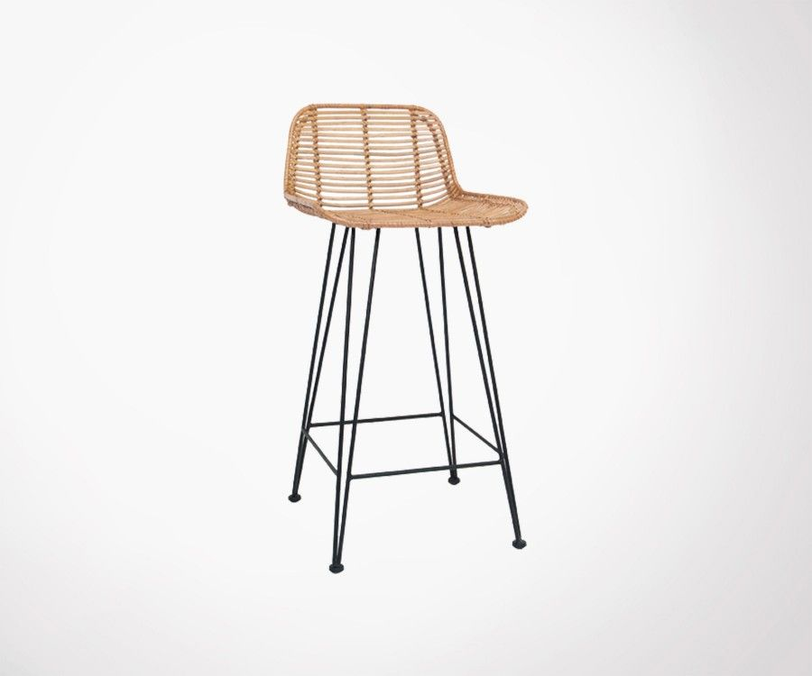 Tabouret de bar en rotin naturel DERNO
