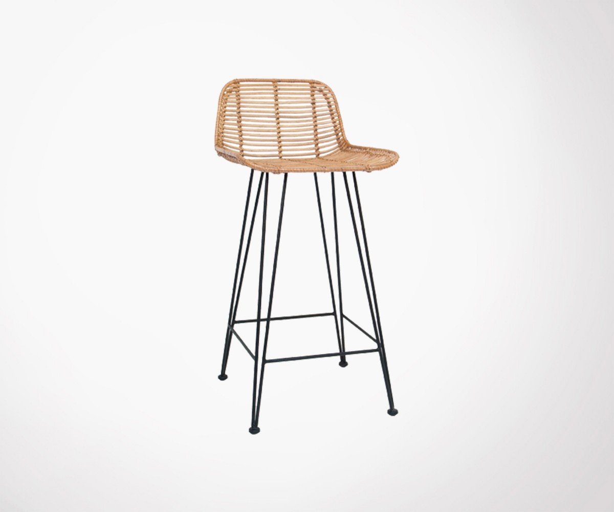Tabouret rotin naturel v ritable pour bar ou table haute liv rapide - Tabouret de bar rotin ...