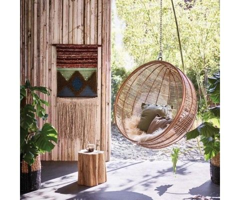 BRIKA Hanging Natural Rattan Bowl Chair - with fixings