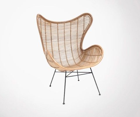 EKTOR Natural Rattan Lounge Egg Chair