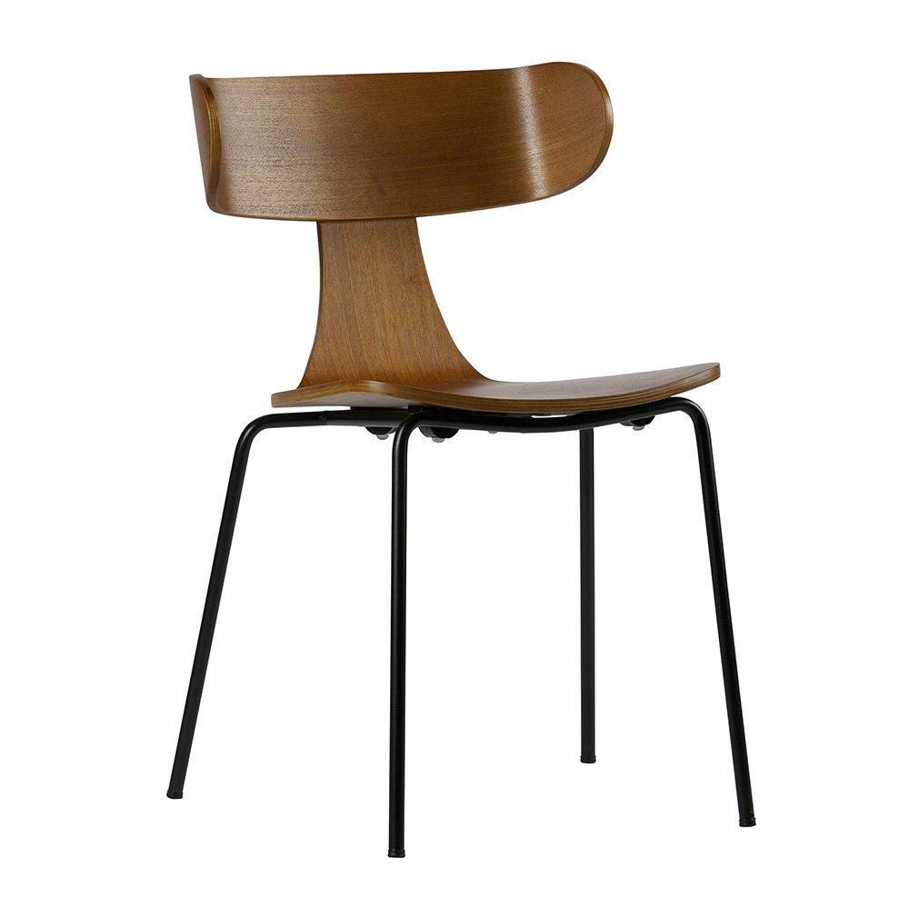 Chaise salle à manger rétro bois frêne et métal noir - Be Pure Home