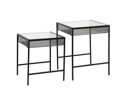 Lot de 2 tables d'appoint métal et verre-BOMEL