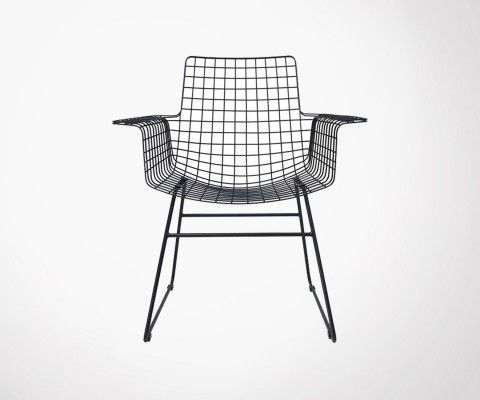 Fauteuil métal noir design industriel BERTRAND