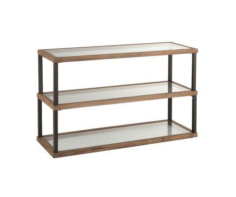 Console d'entrée 3 niveaux verre et bois CRISTEL