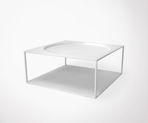 MELANIA industrial full white metal coffee table