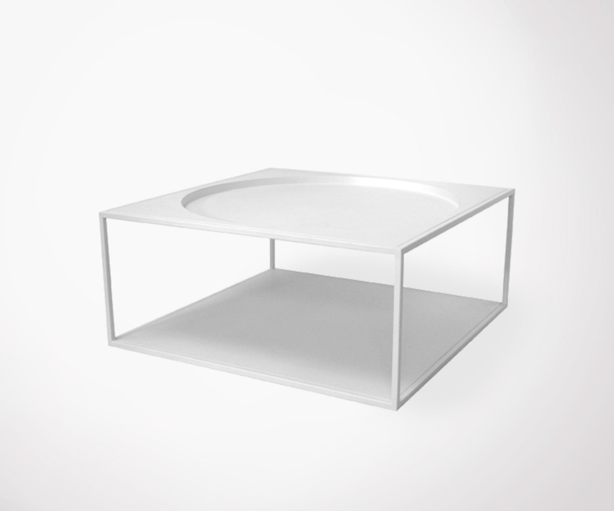 Melania industrial full white metal coffee table meubles for Meuble tv 2 m