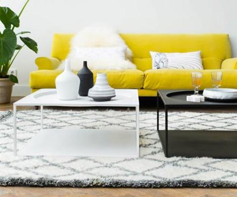 Table basse blanc carré style industriel MELANIA