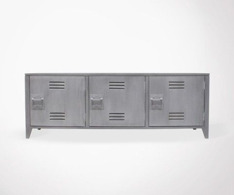 Meuble TV design style locker université MOLD - gris