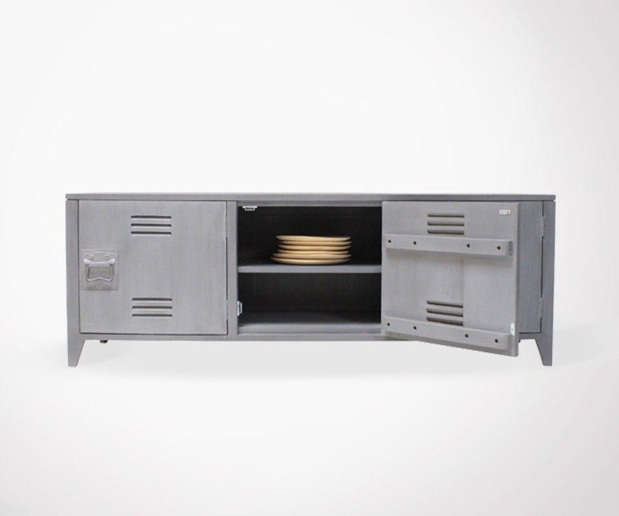 Meuble TV design style locker université MOLD - gris