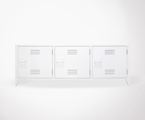 Meuble TV design style locker université MOLD - blanc