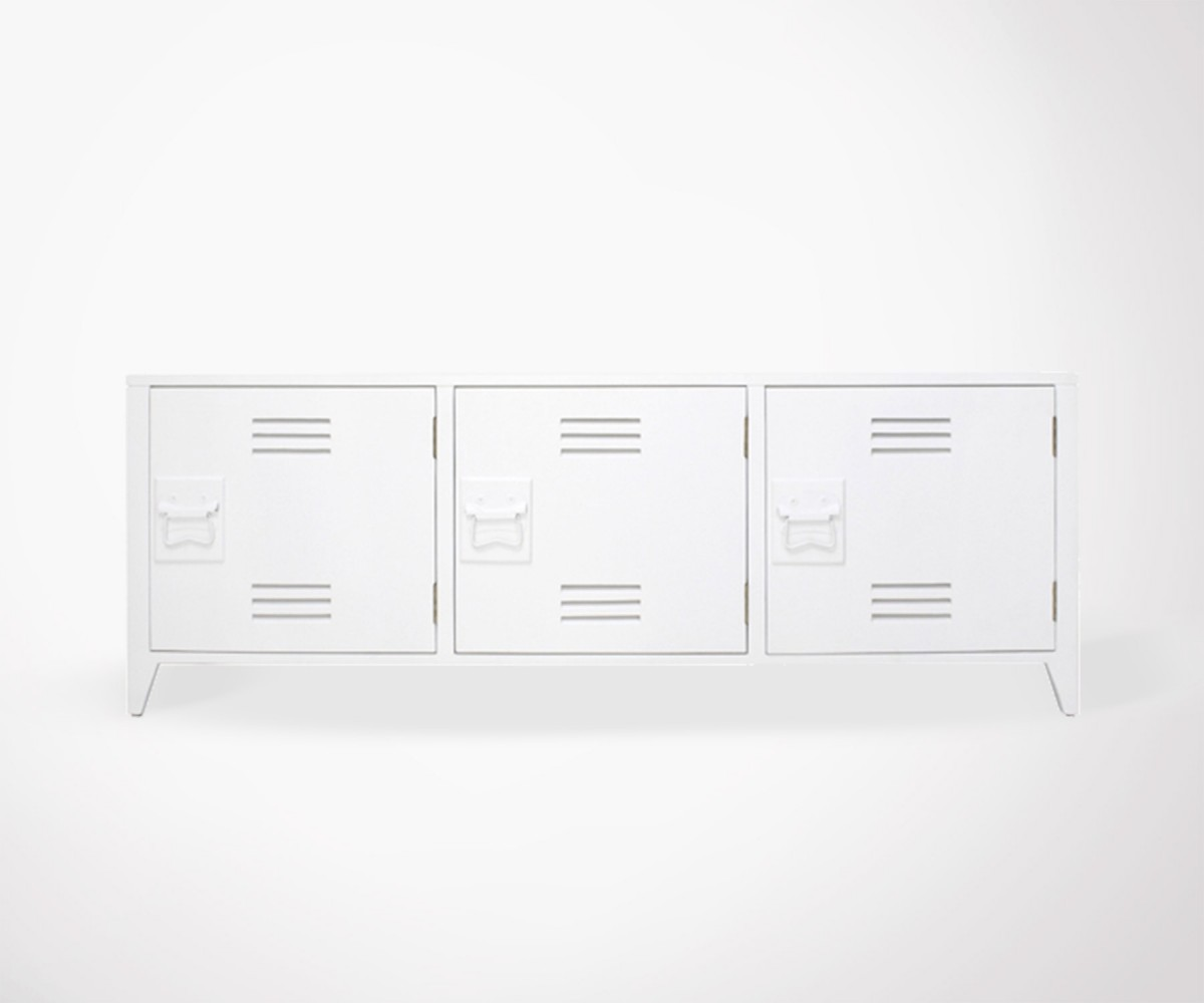 Mold College Locker Style Tv Unit White Meubles Et Design # Meuble Tv Industriel Blanc