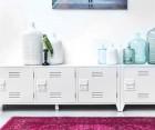 Meuble TV design style locker université MOLD - blanc