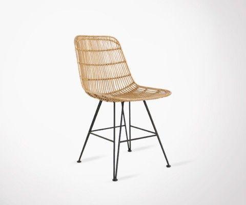 Chaise design rotin naturel pieds métal noir RATTAN