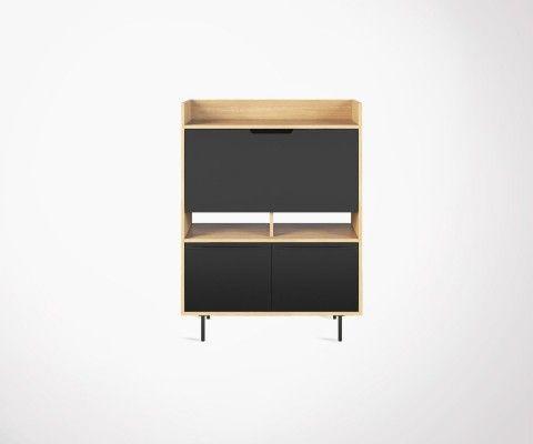 Bureau secrétaire design moderne bois naturel et noir LIME