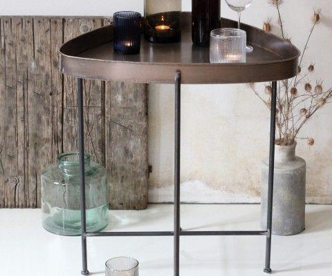 Petite table d'appoint métal cuivré antique JANE - Red Cartel