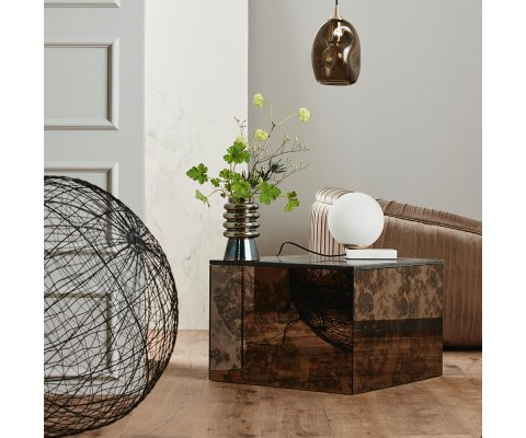 Table basse moderne en marbre forme cube BLANCA