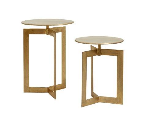 Lot de 2 tables d'appoint en métal doré TWIN