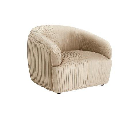 Fauteuil lounge rond en velours beige LENY