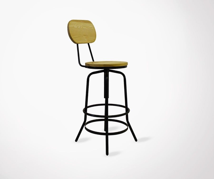 DOLETO Industrial Design Bar Stool - With Back Rest