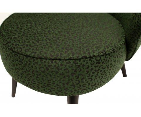 Fauteuil en velours vert motifs léopard PANTHERA