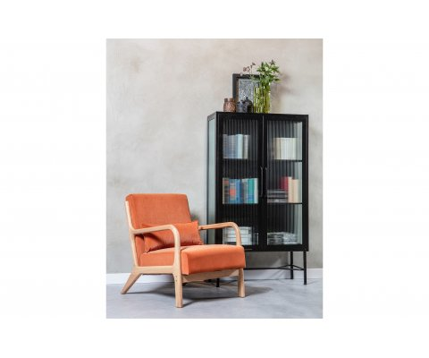 Fauteuil vintage en velours orange POP