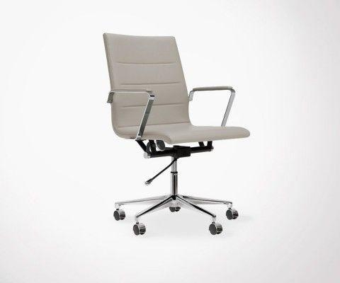 Chaise de bureau design simili cuir ELI - avec roulettes