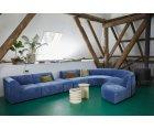 Canapé modulable section rond velours bleu BLOM