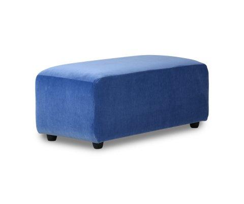 Pouf moderne en velours bleu BLOM