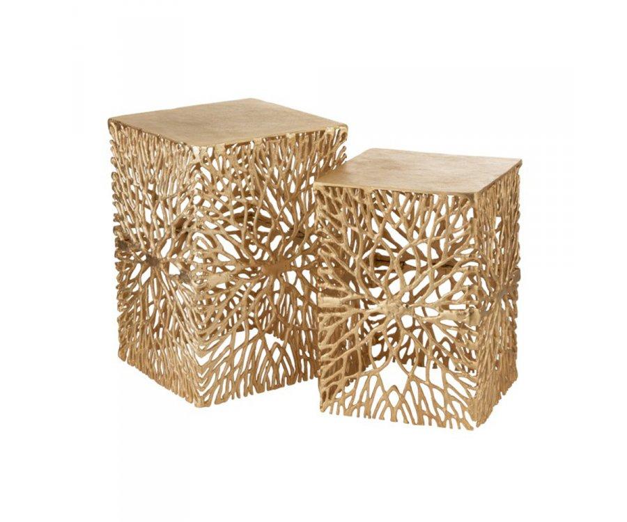 Lot de 2 tables d'appoint art déco en métal doré BALINE