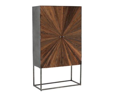 Buffet haut 2 portes en bois pieds métal NIKINE