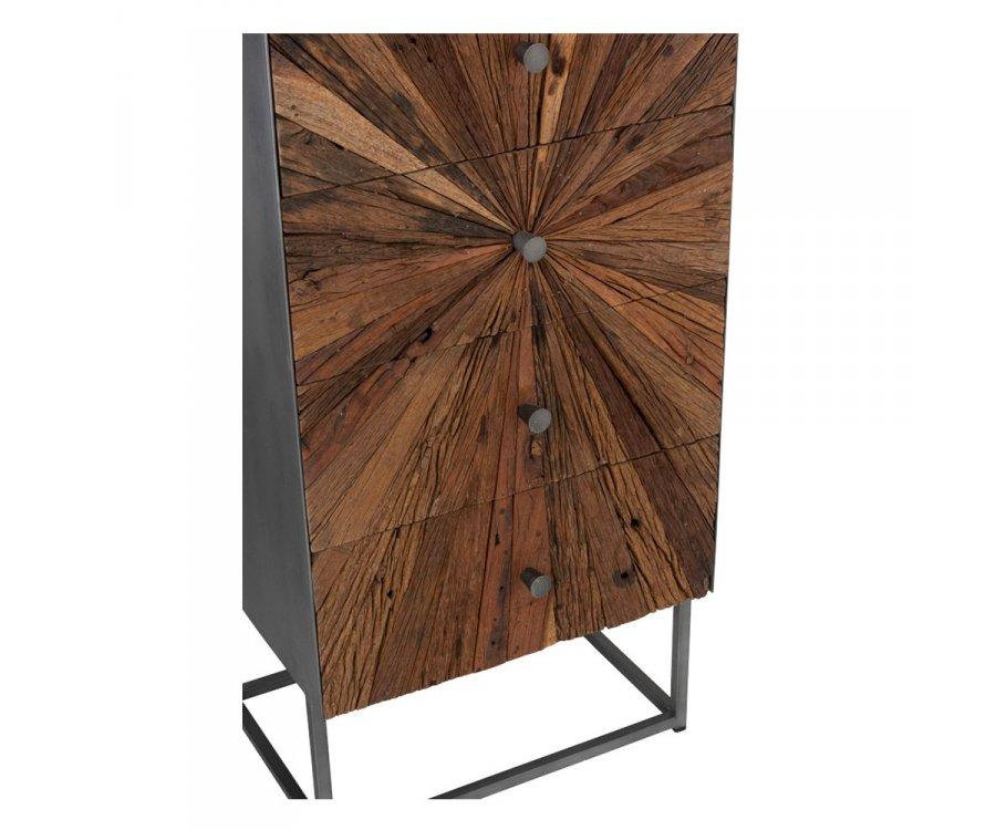 Commode haute moderne 5 tiroirs en bois NIKINE