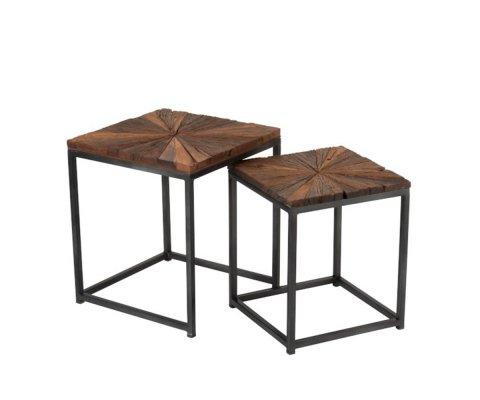 Lot de 2 tables basses carrées en bois et métal NIKINE
