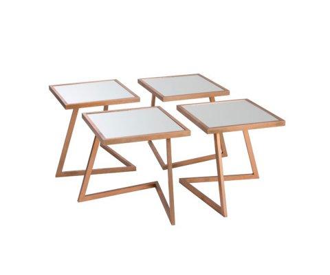 Table basse modulable en métal et verre ALIZEE
