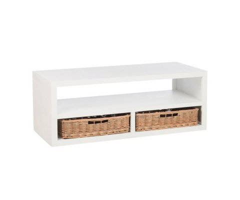Table basse avec rangements en bois blanc BOUCOTTE