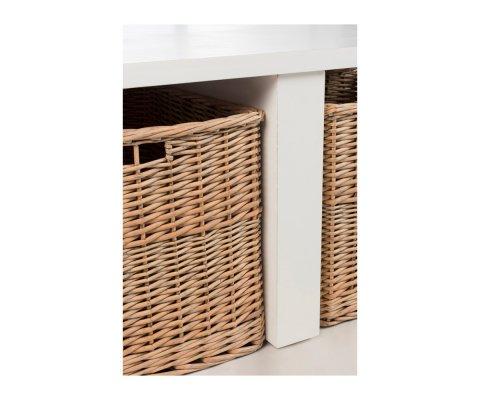 Table basse carrée en bois avec paniers BOUCOTTE