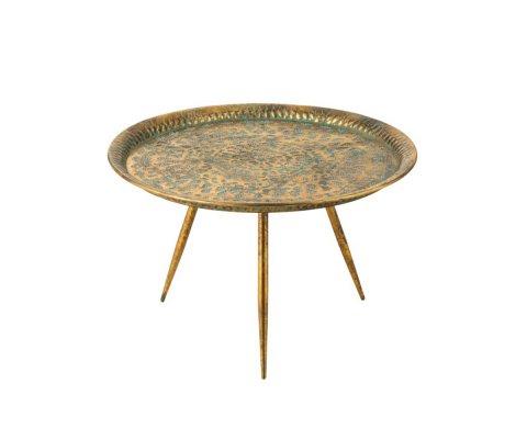 Table basse ronde en métal or FATOU