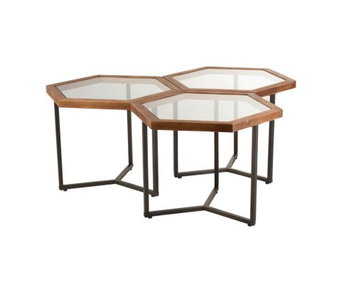 Lot de 3 tables basses en verre YVONNE