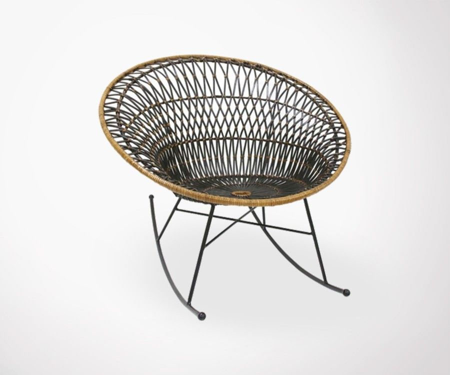 fauteuil bascule rotin v ritable style ethnique par hk living. Black Bedroom Furniture Sets. Home Design Ideas