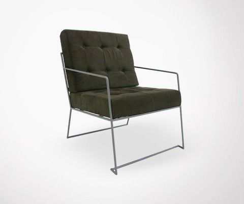 CORDUROY metal base armchair