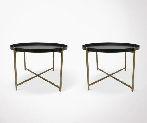 Set of 2 brass/black side table FRANI - detachable top