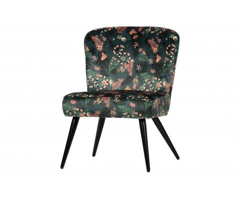 Petit fauteuil fleuri en velours FLORE