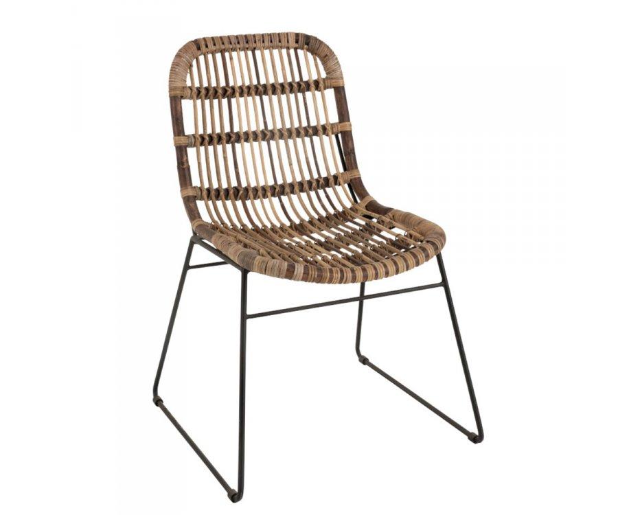 Chaise bohème intérieur extérieur en teck et métal TYLER