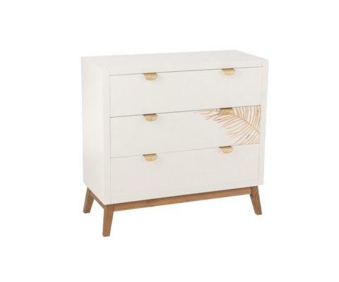 Commode 3 tiroirs en bois blanc PALMI