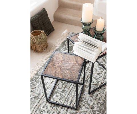 Set de 2 tables basses gigognes carrées bois et métal TOMALA