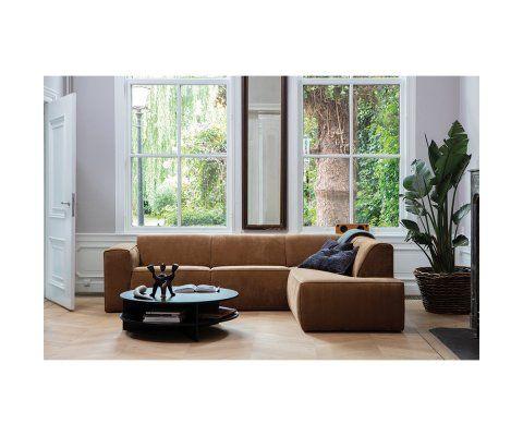 Canapé d'angle droit velours côtelé LUNA - Woood