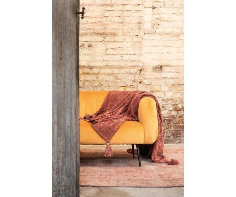 Canapé corolle 2 places velours moutarde pieds métal NINON