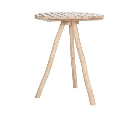 Table de bar ethnique ronde 90cm chêne naturel OAKY